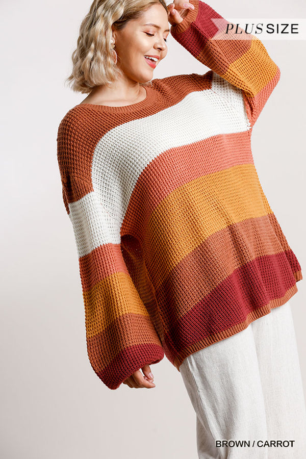 Curvy Striped Knit Pullover