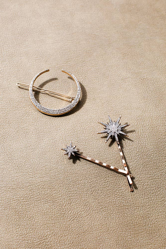 Moon and Star Hairpin Set
