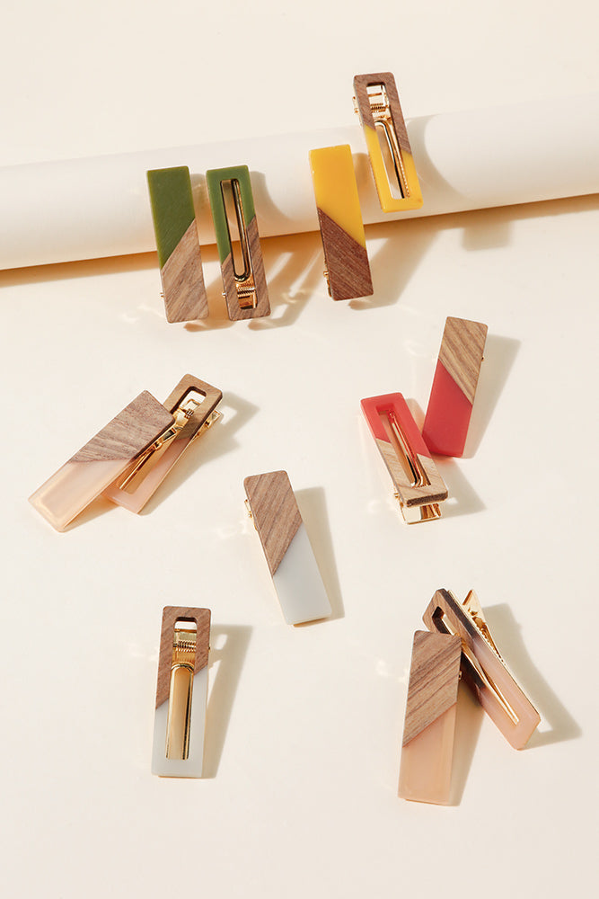 Square Wood Hair Pin Set