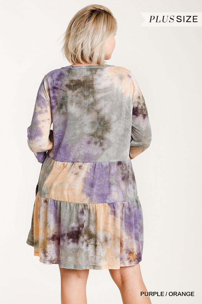 Curvy Tie Dyed Tiered Dress