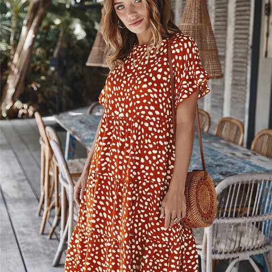 Abstract Dot Print Dress