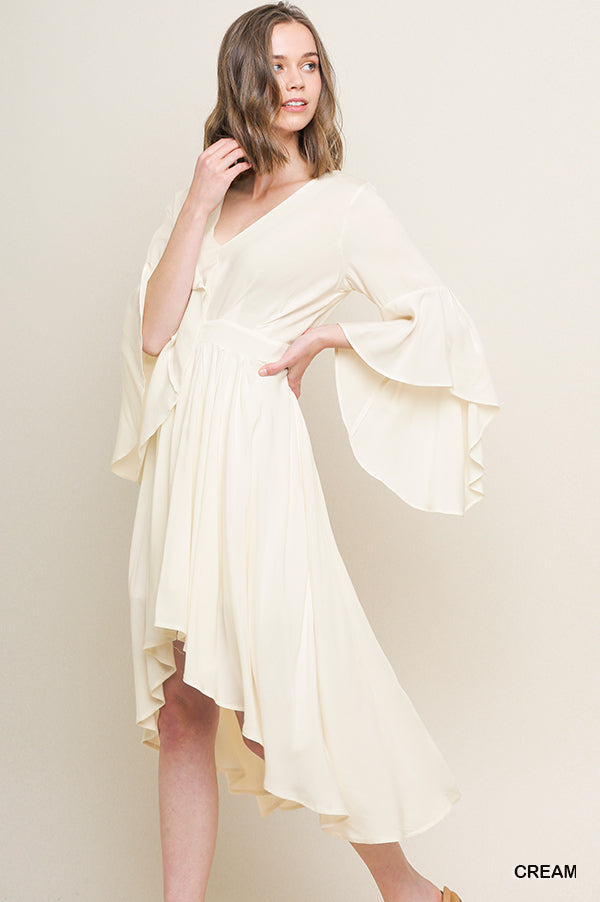 Bell Sleeve High Low Midi Dress