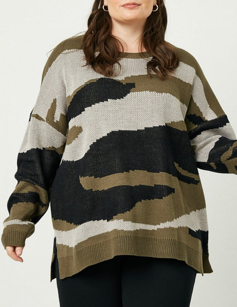 Curvy Camo Sweater