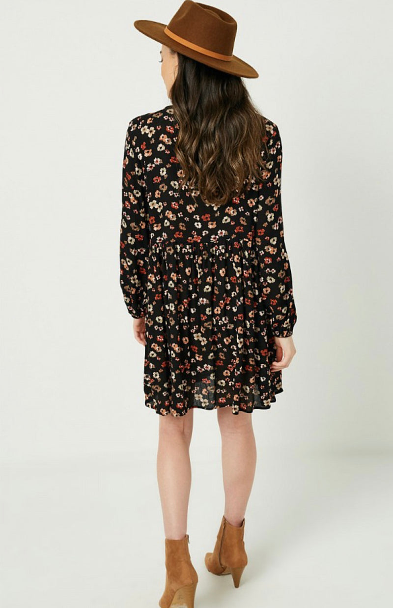 Button Down Floral Mini Dress