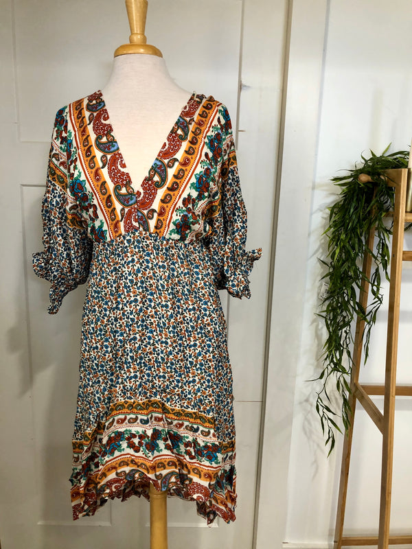 Hi Low Mixed Print Dress