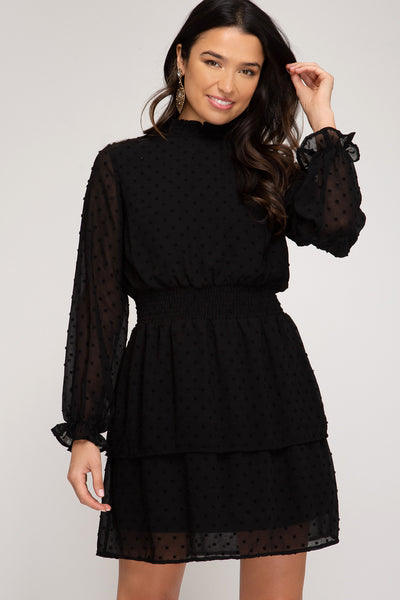 Mock Neck Dot Dress