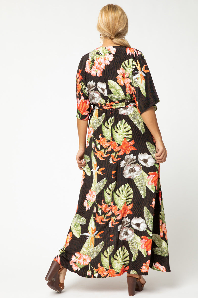 Curvy Tropical Print Maxi Dress
