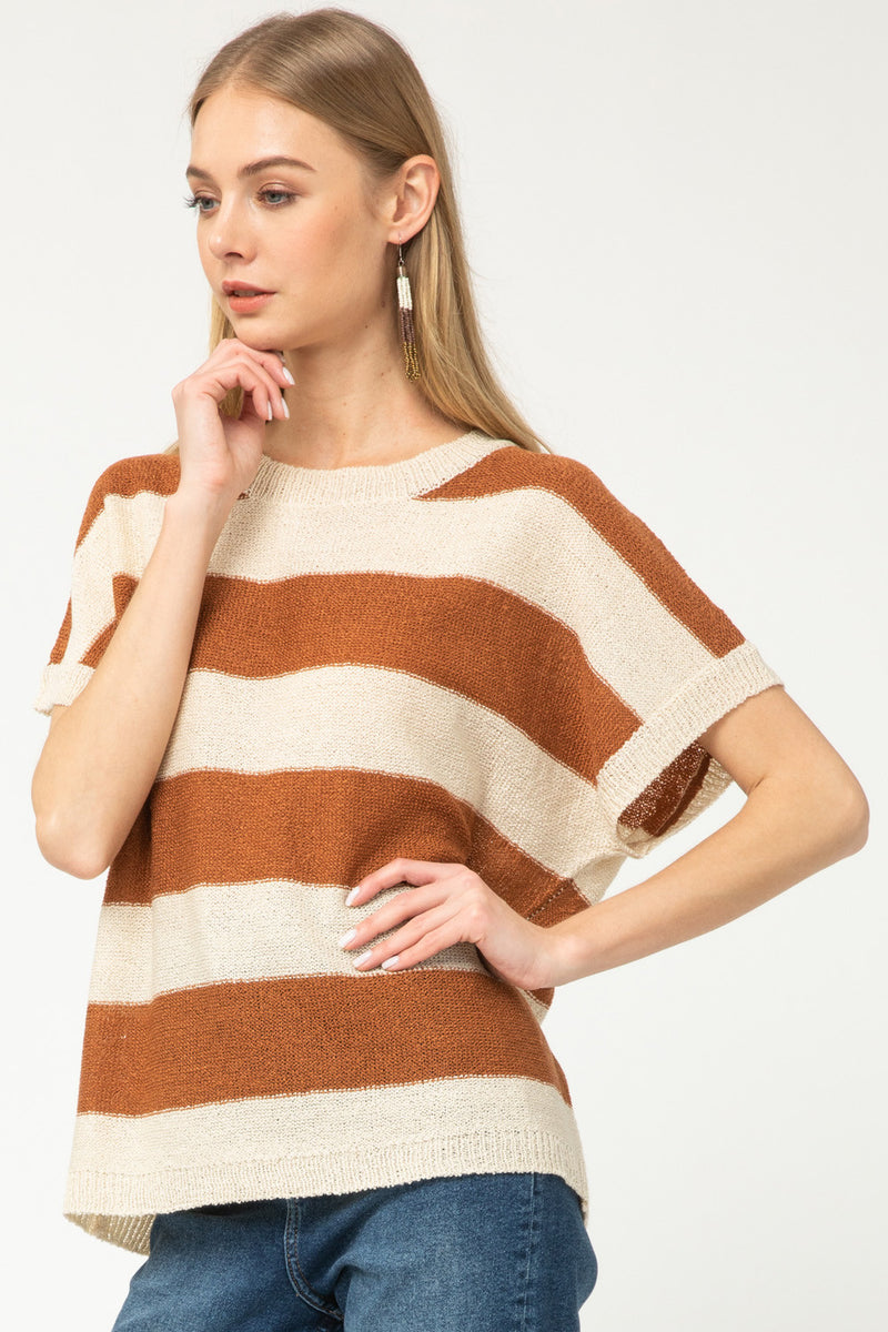Striped Short Sleeve Sweater