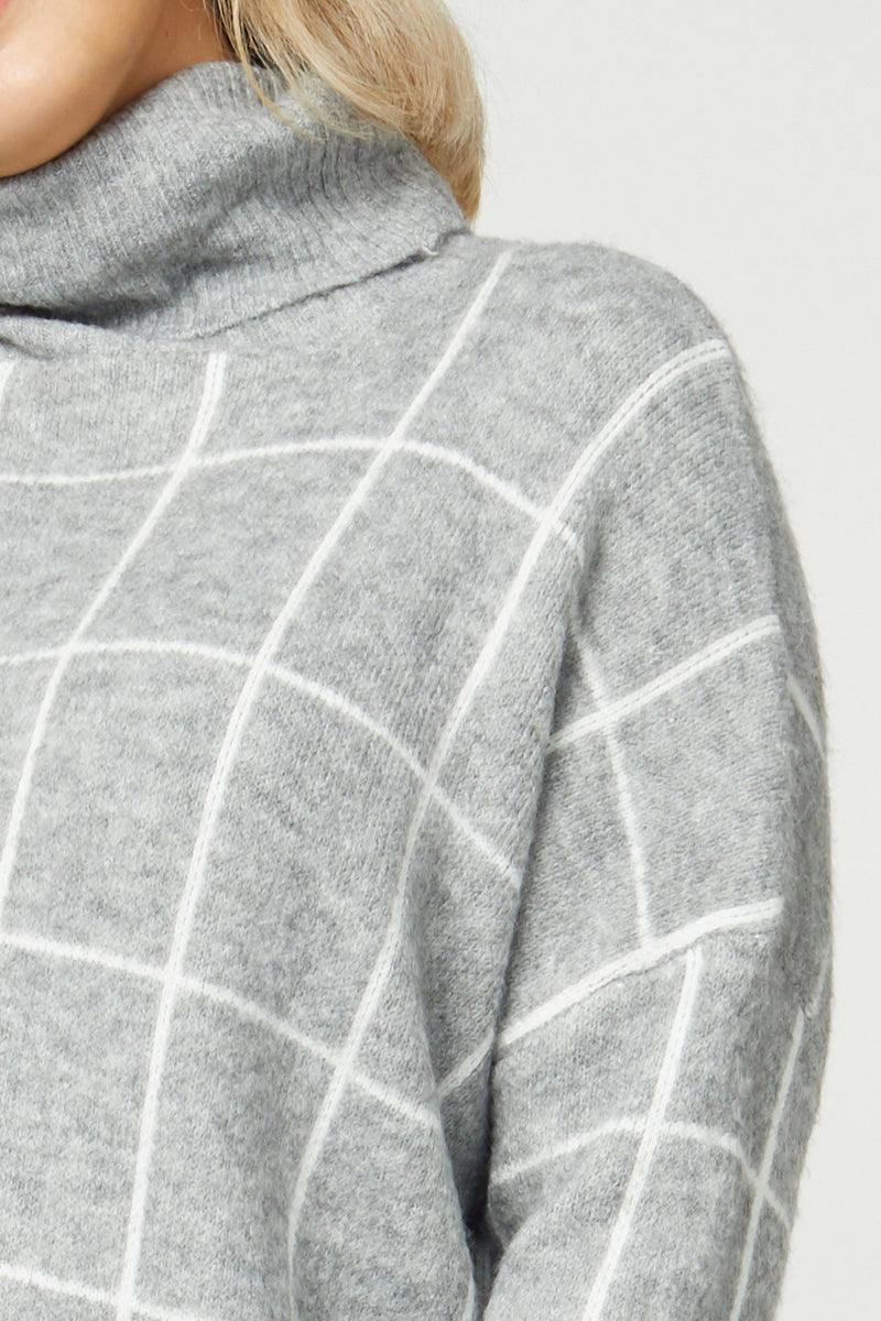 Curvy Grid Sweater