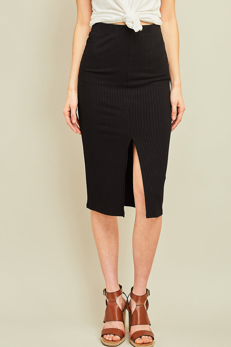 Fitted Ribbed Midi Skirt