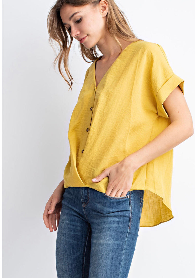 V Neck Button Up Top