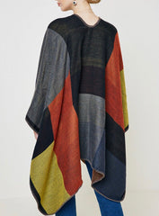 Colorblock Sweater Poncho