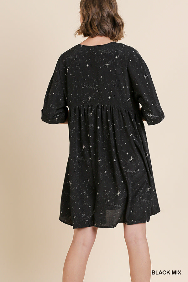 Star Print Babydoll Dress