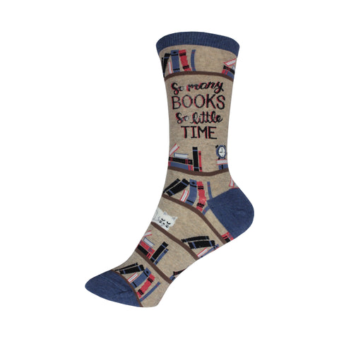 Time for a Good Book Crew Socks in Hemp Heather