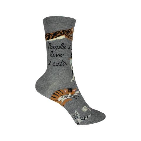 People I Love: Cats Crew Socks in Gray