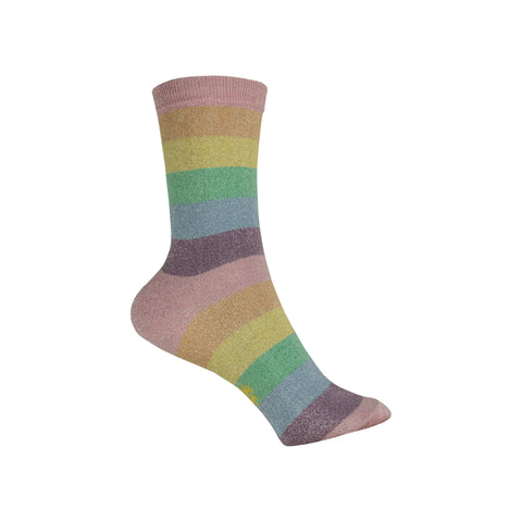 Pastel Prismatic Crew Socks in Rainbow