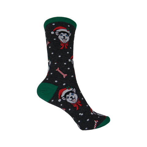Christmas Huskies Crew Socks in Charcoal Heather