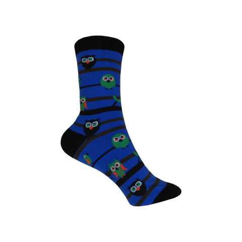 Owl Watch Crew Socks in Blue