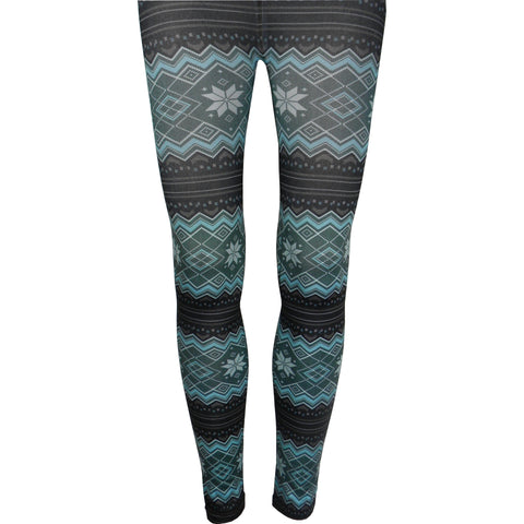 Nordic Print Fleece Lined Leggings in Turquoise
