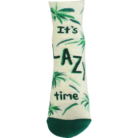 It's Lazy Time Ankle Socks in Cream and Green