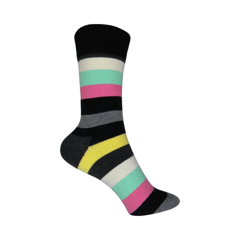 Stripe Crew Socks in Gray