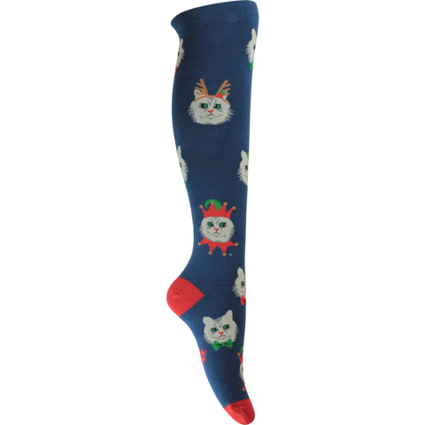 Santa Claws Knee High Socks in Blue