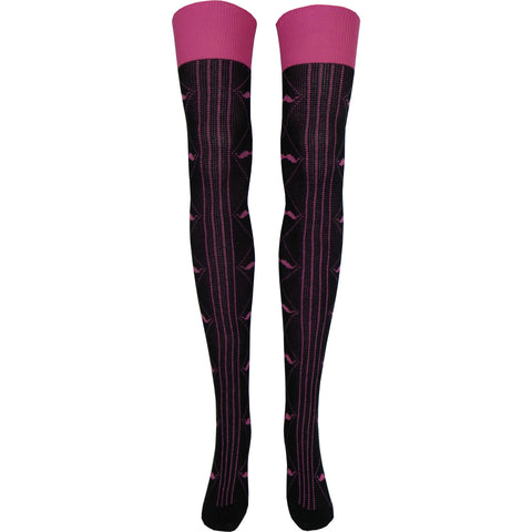 Mustache Pink Over The Knee Socks in Black
