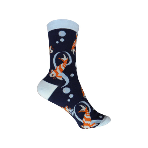 Koi Fish Crew Socks in Blue