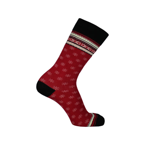 Fair Isle Crew Socks in Red
