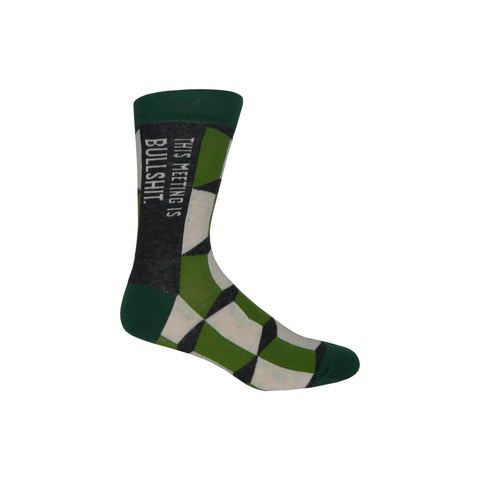 Meeting is Bullshit Crew Socks in Green
