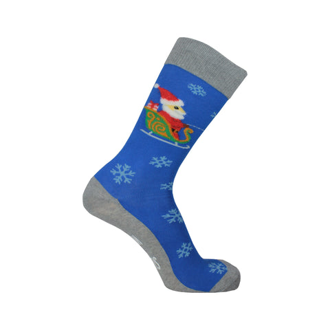 Sleigh What Crew Socks in Blue