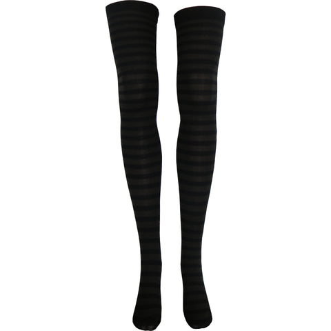 Stripe Opaque Thigh High Socks in Black and Brown