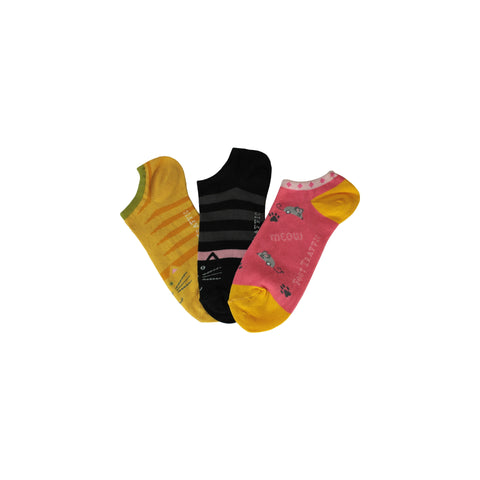 Three Pack Kitty Footie Socks in Black, Yellow, and Pink