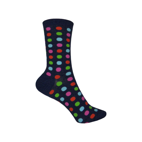 Classic Large Dot Crew Socks in Denim