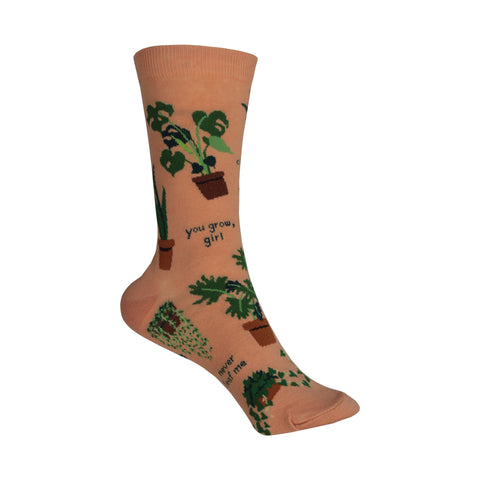 Plant Lady Crew Socks in Coral