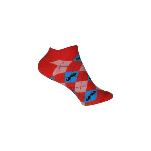 Argyle Mustache Ankle Socks in Red, Pink, and Blue