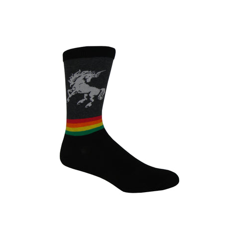 Unicorn Rainbow Crew Socks in Charcoal Heather