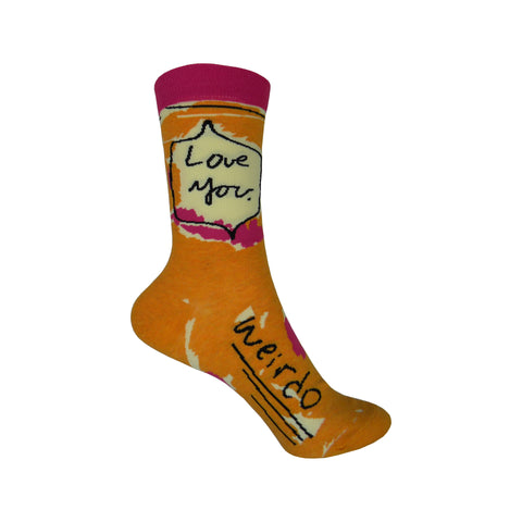 Love You Weirdo Crew Socks in Orange