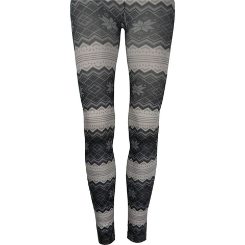 Nordic Print Fleece Lined Leggings in Ivory
