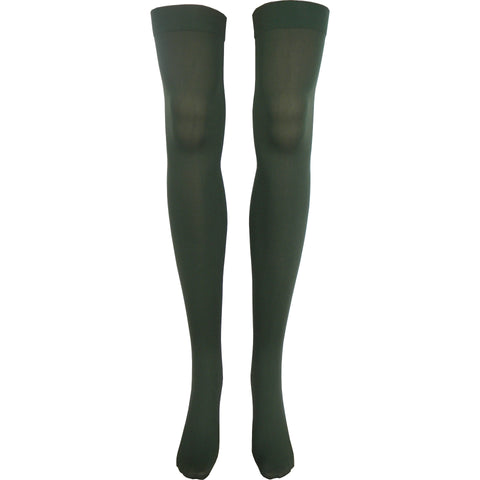 Solid Opaque Thigh High Socks in Olive