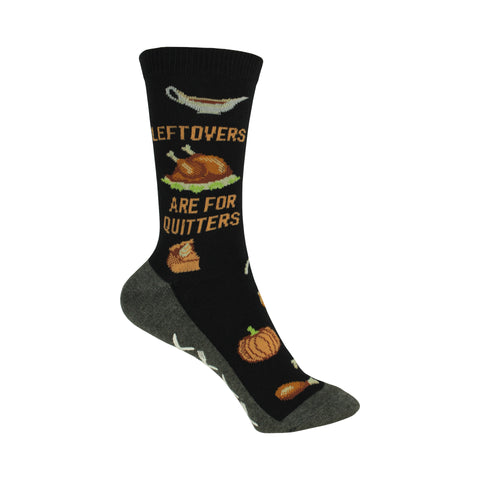 Non Skid Leftovers Are For Quitters Crew Socks in Black