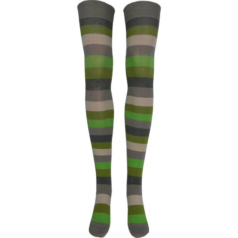 Stripe Over The Knee Socks in Khaki