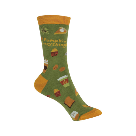 Pumpkin Crew Socks in Green