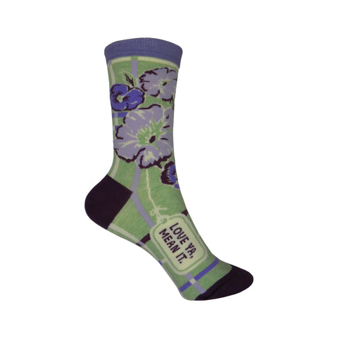 Love Ya Mean It Crew Socks in Green