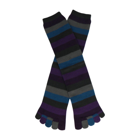 Peacock Stripe Toe Knee High Socks in Purple, Gray, Turquoise, and Black