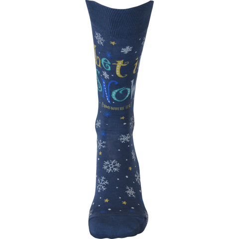 Let it Snow Crew Socks in Blue