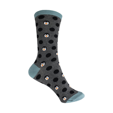 Penguinka-Dot Crew Socks in Heather Gray