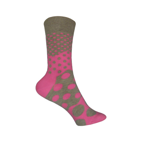 Divided Dot Crew Socks in Pink and Brown