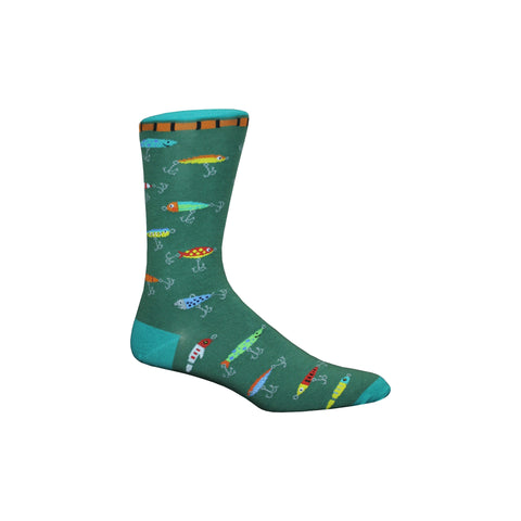 Fishing Lure Crew Socks in Green