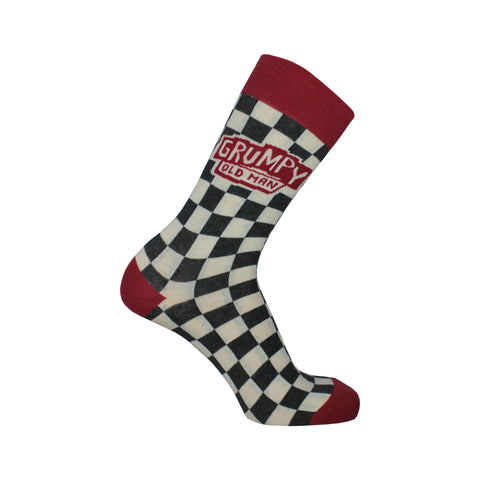 Grumpy Old Man Crew Socks in Black, White, and Red